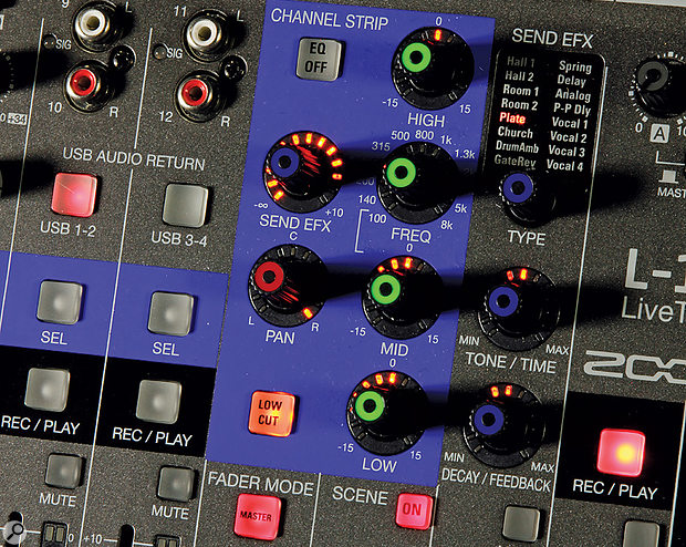 A single set of channel strip controls governs EQ and afew other settings for the currently selected channel.