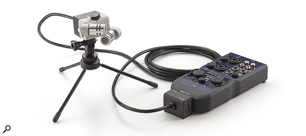 The XYH6 mic with optional stand and cable.