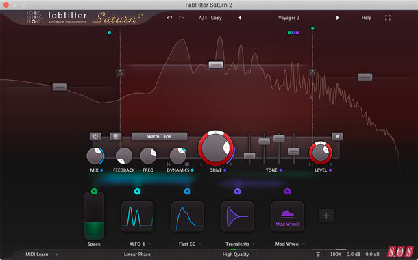 Main screen of FabFilter Saturn 2 multiband distortion/saturation plug-in.