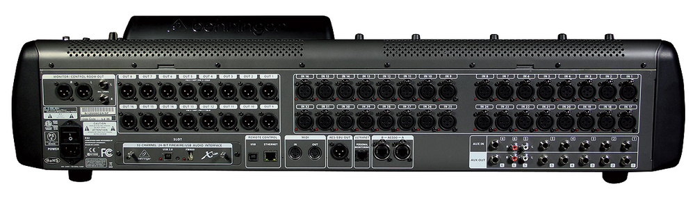 the x32 features a wealth of analogue and digital i/o, including 32 mic