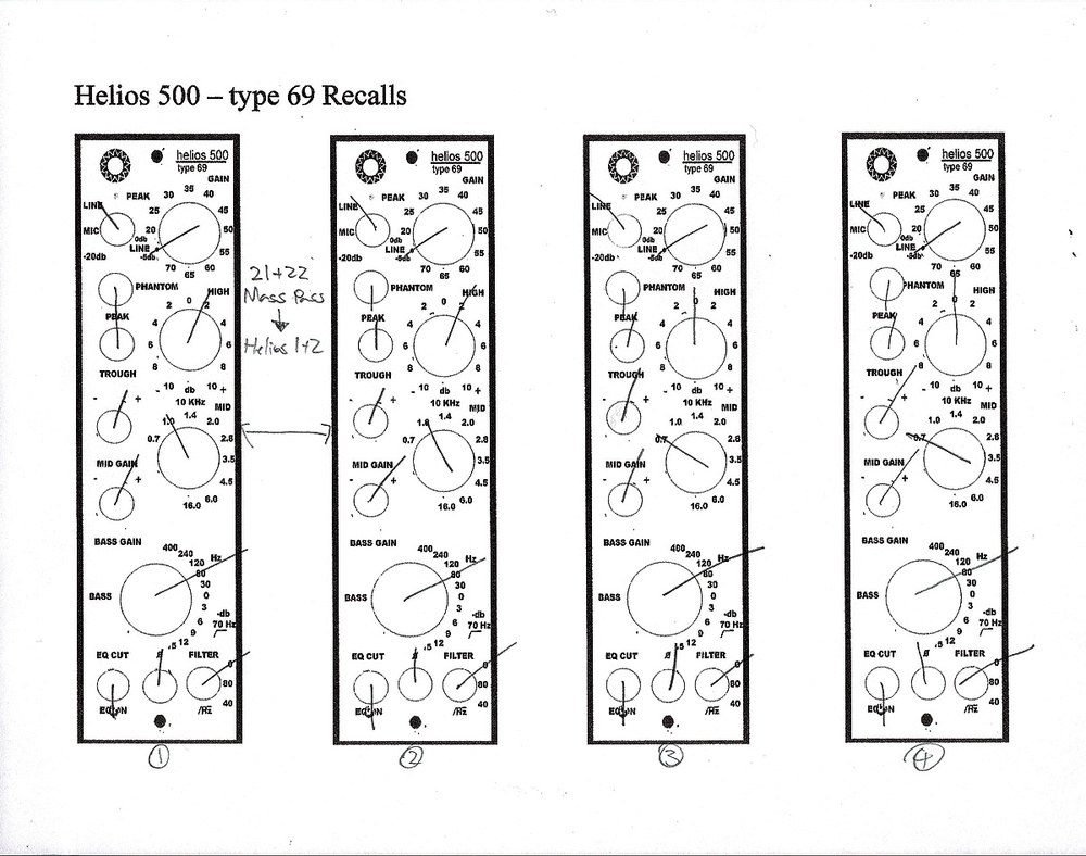 Inside Track Mixing The Led Zeppelin Reunion Theremin World Topic A Digital Project From Glaacuk These Recall Sheets Show Alan Moulders Settings For Hardware Helios Type 69 Equalisers