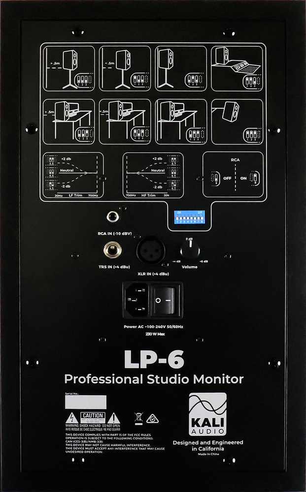 kali audio lp 6 a row of dip switches lets you tailor the lp6 s response to their placement in your