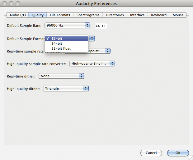 how to change bit rate in audacity