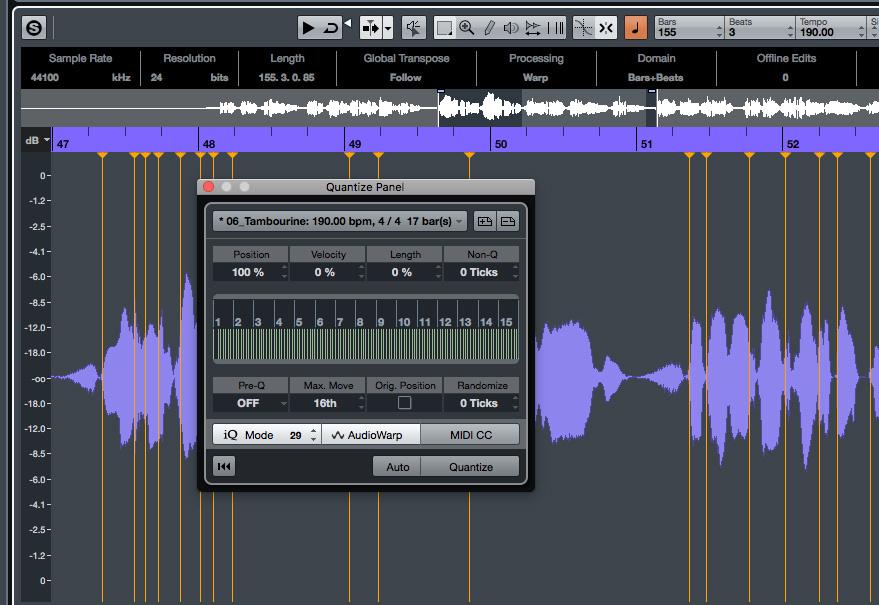 cubase audio warp