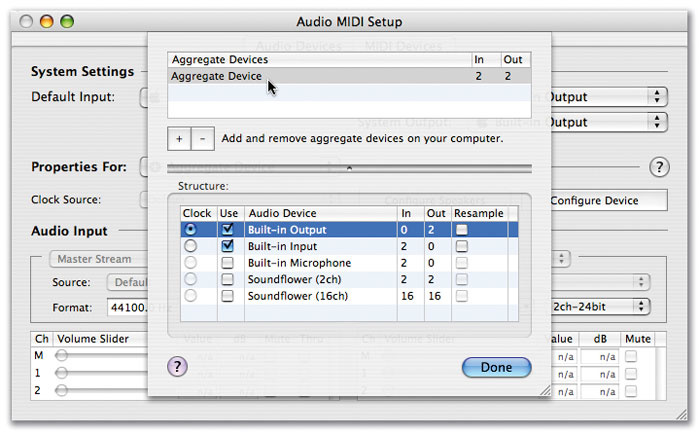 Using Intel Mac Audio Hardware with DP 5