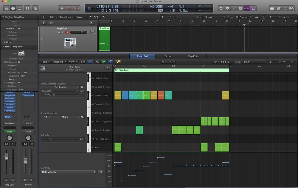 Using Logic Pro X's Step Editor