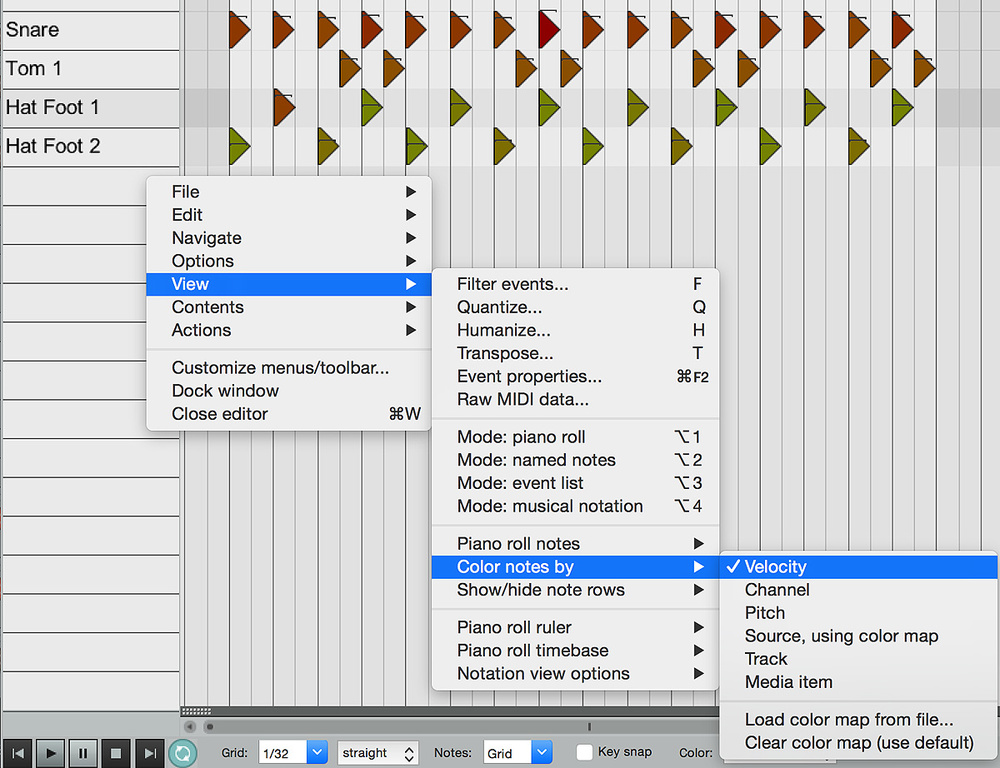 Set Up Reaper's MIDI Editor For Drums