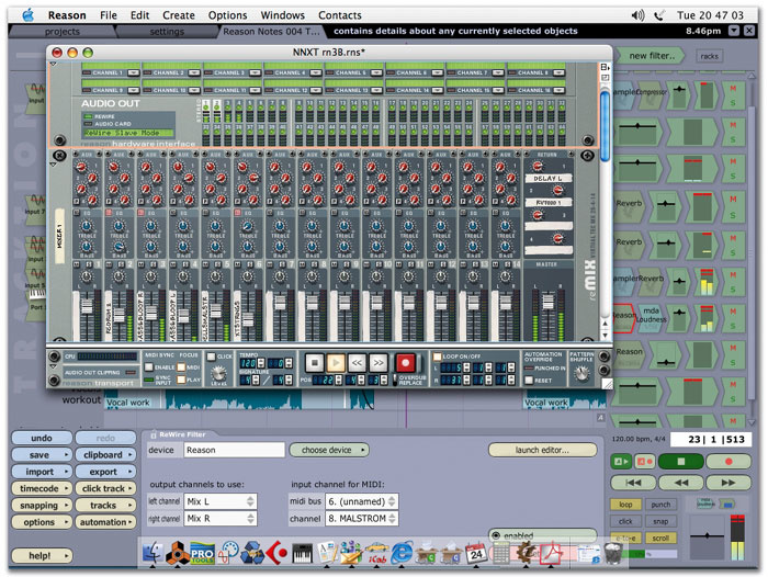 Reason: Using Mackie Tracktion Sequencer As A Rewire Host