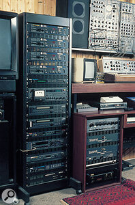 Four Oberheim DPX1 players take pride of place at the top of this rack, along with various Korg M1R, Emu modules and Klaus's much-loved AKG ADR 68K reverb (bottom).