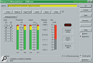 If you're using a hard disk recording system on a Mac or PC, the Waves L1 Ultramaximiser will allow you achieve maximum digital levels without ever going into overload. Notice that the maximum output level has been set to ‑0.3dB (see main text).