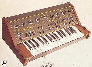 The Korg 770, released in 1975. Looking somewhat like a baby Minimoog, it nevertheless retained the basic architecture that had made the 700S such a success.