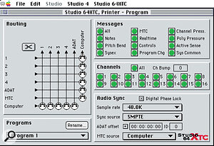 The Program Edit window in the Studio 64XTC's bundled editing software (seen here running on an Apple Mac). The Connection Grid is visible on the left, and the various Audio Sync settings can be seen on the right.
