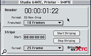 Adjusting SMPTE settings in the Mac program editor's SMPTE window.
