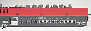 The Nord Modular's back panel, with its two pairs of MIDI connections (one for ordinary MIDI use, the other for use with the patch editor only).