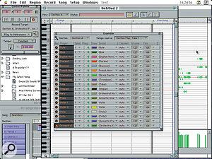 The Ensemble Palette, centre, which shows your virtual band.