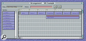 The Arrangement Window, where a final Song is assembled from various Sections.