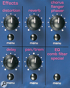 A front‑panel section labelled 'effects' provides an adjustable control knob and a menu button for each of the seven effect‑types.