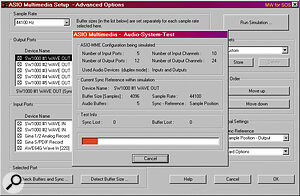 Successfully using several soundcards at once will provide large numbers of discrete ins and outs as shown here; the new Audio System Test in Cubase VST helps to weed out sync problems.