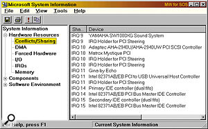 If you have Windows 98, the System Information utility will show (among lots of other options) every currently shared IRQ on your system.