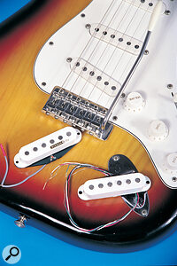 Electric guitars can be amajor source of unwanted noise, particularly those fitted with single‑coil pickups. One solution is to replace these with hum‑cancelling soundalikes such as Kinman AVNs.