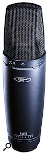 Quiet acoustic instruments are best recorded with asensitive capacitor or back‑electret microphone, such as this capacitor from the new Alesis GT Electronics AM series.
