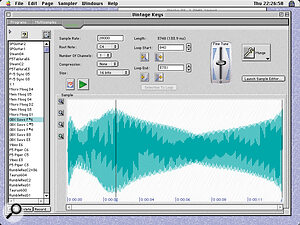 The Samples window with audio in the waveform display. Here it's possible to loop the sample, change its sample rate, fine‑tune it and 'Munge' it (apply DSP).
