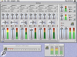 The attractive Mixer allows the balancing of up to 16 Unity Programs on different MIDI channels. The Status box helps to keep track of CPU and RAM overhead and registers how many voices of polyphony Unity is using.