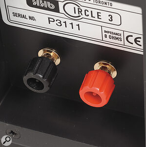 The terminal panel at the rear of the speaker carries a pair of heavy‑duty binding posts for bare wire connection.