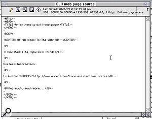 A very dull web site as seen in a text editor (above) and a web browser. The HTML tags in angled brackets instruct the browser to display the text 'Welcome To The Web', for instance, as centred, in the largest header format