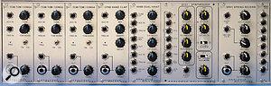 Assorted Concussor percussion modules (l‑r): TC88 (TR808 tom/conga) (x3), CP88 (TR808 clap), HH88 (TR808 hi‑hat), SY01 ('synth minus oscillator' module), SR01 (spring reverb), MX61 mixer.