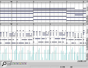 Many styles generate new notes, as this composite screenshot demonstrates. The upper part is a simple block chord sequence, which has been transformed below using the 'Guitar 100P4/4G 30B Pop/Country Ballad filling' style. The result sounds like a true guitar player.