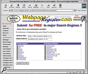 Sites like Webpage‑Register.com allow you to submit your details to a number of the most important search engines simultaneously.