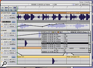 The Soundbites window gives you fast access to all the audio tracks being used in the current project. It also allows you to draw volume and pan curves on to the waveforms as well as create loops. You can view this information in a list format for very precise audio event editing.