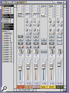 DP's mixer screen is elegant, especially in its new narrow‑screen mode. Plug‑ins, whether audio or MIDI, are called simply by clicking in the Insert boxes and selecting from the list. Internal audio routing is very flexible offering as many audio voices and internal stereo busses as your RAM and CPU will allow. The mixer includes auxiliary and master faders that can be set to take audio from the main inputs or any of the internal busses.