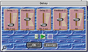Voodoo offers two banks of effects, with three programmable parameters per effect.