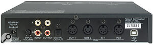 Front‑panel Mic and Guitar inputs on the front panel of the UA100 are augmented by line‑level I/O, S/PDIF optical output, and two pairs of MIDI I/O at the rear of the unit.