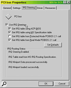 IRQ Steering seems to work fine in Windows 98, but not in Windows 95 OSR2 (see box). However, you can disable it altogether if necessary from inside the System applet of your Control Panel.
