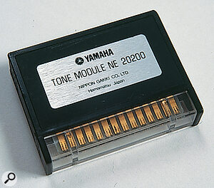 One of the GX1's Programmable Tone modules, each of which stores the settings for a single Tone in 26 variable resistors. These are adjusted using the Tone Module Setting Box to turn the individual screws.