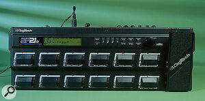 The RP21D's controls combine the chunky footswitches required of a guitarist's stomp box with the smaller function buttons and data wheel of a rackmount multi‑effects unit.