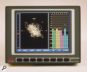 The large colour screens of the MSD600‑series provide space for a large amount of precise measurement information, such as the multi‑channel level metering and Lissajous display shown here, or the AB/MS metering and 'jellyfish' surround‑sound metering display shown on p.200. Bar‑graphs can be colour‑coded to make it easier to distinguish them from one another.