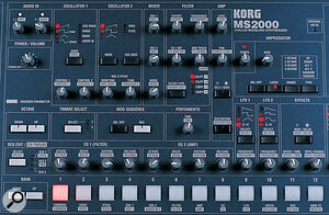 The MS2000's busy front panel contains a dedicated control for almost every parameter, though many take alternative roles (indicated by the reversed‑out legending) when used in vocoder mode. The signal flow follows a broadly left‑right path.
