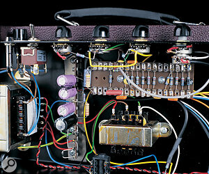 Inside the Cornford amp, there's no PCB, just well‑finished point‑to‑point hand wiring, redolent of some classic vintage amplifiers and many of today's finest 'boutique' models from the USA.