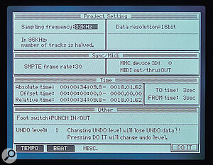 The DPS16 organises your songs into Projects, which can be backed up via SCSI to CD‑R or hard disk.