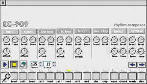 EC909 is Electronic Cow's answer to the virtual drum machine and bass synth sequencers available on other platforms.