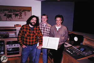 Making the Ballet Mécanique CD: (from left to right) Paul D Lehrman with assistant engineer Richard Furch and recording, mixing and mastering engineer Jonathan Wyner at Sounds Interesting Studio, Middleborough, Massachusetts.