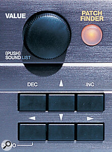 The Patch Finder button, as on the XV3080, allows sounds to be searched for by category, making it easier to handle the hundreds of timbres an XV5080 can provide.