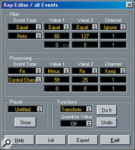 Screen 3: Fix allows you to set the data coming through the filter to any value of your choice. Here, the notes allowed through are fixed as modulation controller messages.