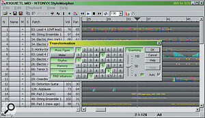After the transforms have been automatically applied in real time, you can see the new voice set, and the way that held chords have been transformed into intricate phrases using extra generated notes. What is difficult to see is that both the rhythm and harmonies have also changed, giving a completely different feel to the song.