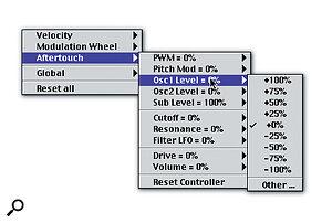 The nested MIDI modulation menus found under the Ctrl button.