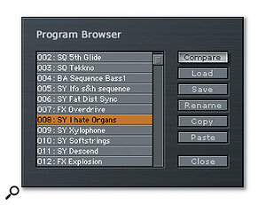 The Program Browser gives easy access to all preset sounds.